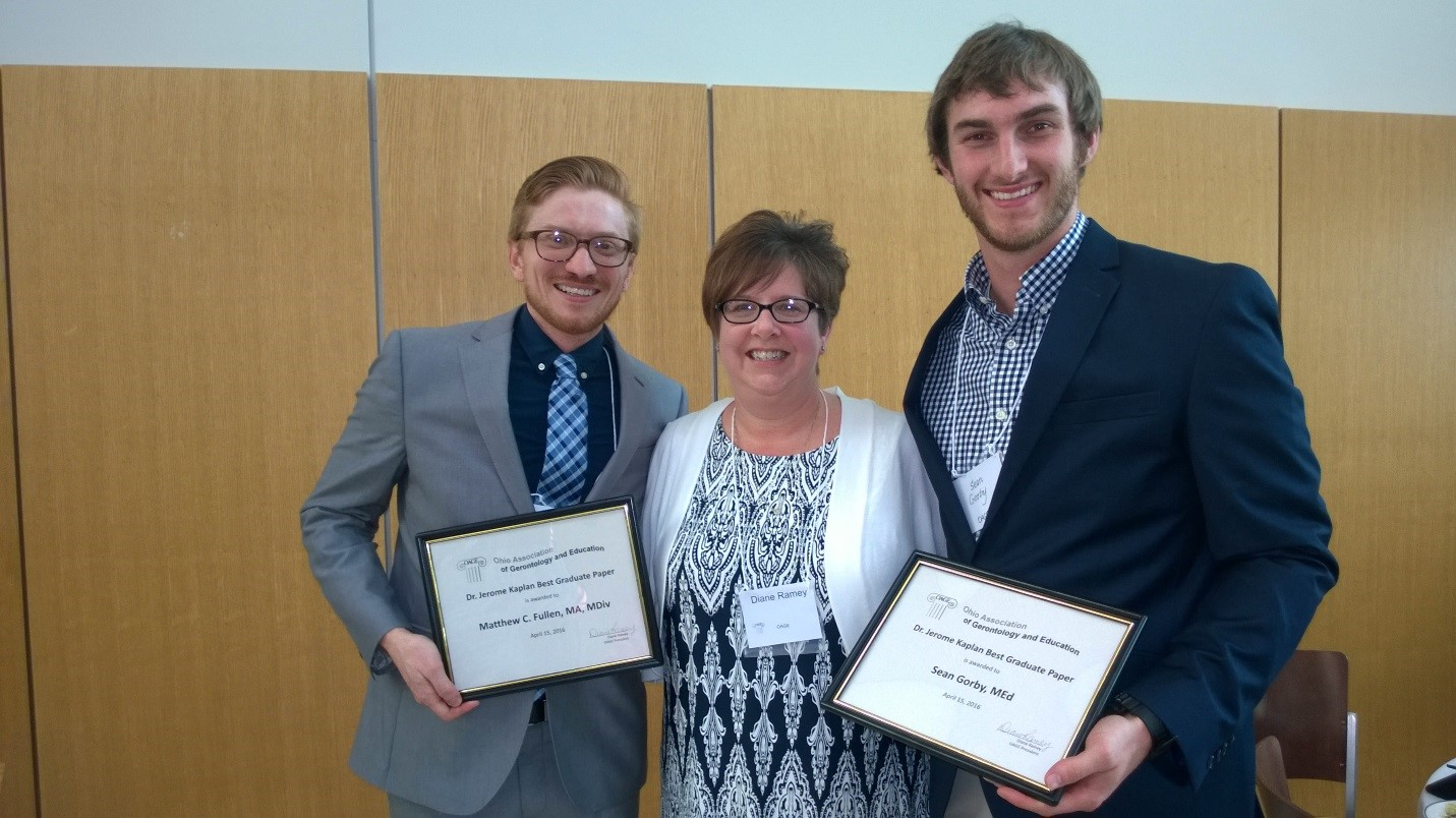 Dr. Jerome Kaplan Best Graduate Paper Award Recipients Matthew C. Fullen, MA, MDiv, and Sean Gorby, Med